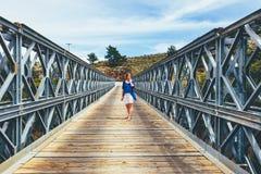 Famous truss bridge over Aradena Gorge. Crete Island, Greece Stock Photography