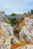 Famous truss bridge over Aradena Gorge, Crete Royalty Free Stock Photos