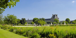 Famous Tuileries garden (Jardin des Tuileries). Beautiful and po Royalty Free Stock Photo