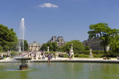 Famous Tuileries garden (Jardin des Tuileries). Beautiful and popular public garden located between the Louvre Museum and the Plac Stock Photography