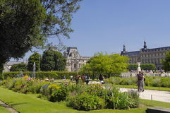 Famous Tuileries garden (Jardin des Tuileries). Beautiful and popular public garden located between the Louvre Museum and the Plac Stock Images