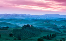 Famous Tuscany Belvedere farm house in Italy Royalty Free Stock Images