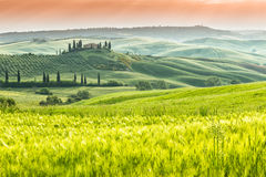 Famous Tuscany Belvedere farm house in Italy Royalty Free Stock Image