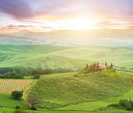 Famous Tuscany Belvedere farm house in Italy Royalty Free Stock Photo