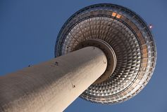 Famous TV Tower located on the Alexanderplatz in Berlin Stock Images