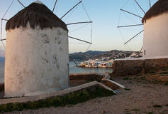 Famous Two windmills of Mykonos Stock Image