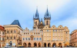 Famous Tyn Church in Prague Stock Photo