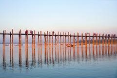 Famous U-Bein teak bridge, Myanmar Royalty Free Stock Image