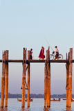Famous U-Bein teak bridge, Myanmar Stock Image