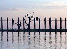 U Bein teak bridge at sunset in Amarapura, Myanmar Royalty Free Stock Image
