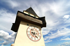 The Clock tower in Graz Stock Images