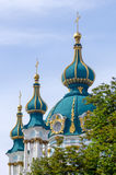 The famous Ukrainian Saint Andrew's Church (Andreevskaya) by Rastrelli in baroque. Kiev, Ukraine. Royalty Free Stock Photo