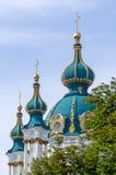 The famous Ukrainian Saint Andrew's Church (Andreevskaya) by Rastrelli in baroque. Kiev, Ukraine. Ukraine historical building in Kiev, Ukraine Royalty Free Stock Photo