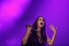 The famous Ukrainian singer Jamala gave a concert presenting her new album Podykh (Breath). KYIV, UKRAINE - DECEMBER 5: The famous Ukrainian singer Jamala gave a Stock Photos