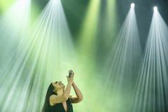 The famous Ukrainian singer Jamala prays Royalty Free Stock Images