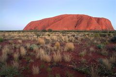 Famous Uluru rock. Famous Uluru, a world heritage landscape in outback Australia. Ayers Rock. Northern Territory, Australia Stock Photography