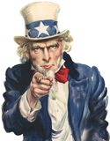 Uncle Sam Wants You Isolated. Famous Uncle Same Wants You for the United States military poster. Isolated on white. PNG file available royalty free illustration