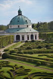 Famous Unesco gardens in Kromeriz town in Czech Republic with its green gardens in symmetrical pattern and decorated chateau. Famous Unesco gardens in Kromeriz stock photo