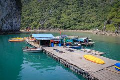 Famous UNESCO heritage site Ha Long Bay and floating village with quaint cliffs, turquoise water, boats and authentic huts royalty free stock images