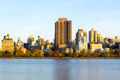The famous Upper East Side photographied from the Jacqueline Ken. From the Jacqueline Kennedy Onassis reservoir are some of the most iconic views of NYC Royalty Free Stock Photography