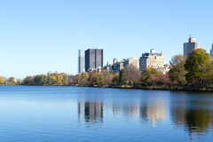 The famous Upper East Side photographied from the Jacqueline Ken. From the Jacqueline Kennedy Onassis reservoir are some of the most iconic views of NYC Royalty Free Stock Image