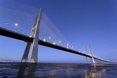 Famous Vasco da Gama bridge by night Stock Photography
