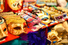 Famous venetian masks. Beautiful group of colorful venetian masks with ornate decorations in Venice, Italy Stock Images