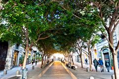 Famous Via Chiaia street view in Naples, Italy. NAPLES, ITALY - JANUARY 1, 2014: famous Via Chiaia street view in Naples, Italy. Naples' historic city centre is royalty free stock photo