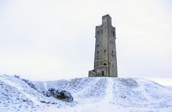 Victora Tower on Castle Hill in Huddersfield, West Yorkshire, England. The Famous Victoria Tower built to commemorate Queen Victoria on Castle Hill a once iron stock photo