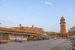 Famous victorian clock tower in Jodhpur and view to fort Stock Photography