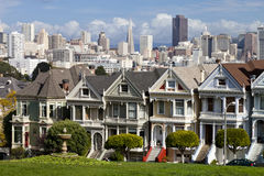 Famous Victorian row houses in San Francisco Stock Photo