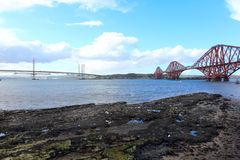 Two bridges over firth of fort in scotland royalty free stock photos