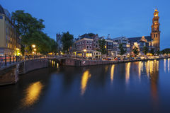 Famous view of Amsterdam Canal by night Royalty Free Stock Photos