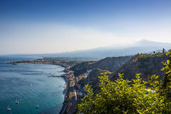 The famous view of Etna volcano from historical city Taormina Royalty Free Stock Photo