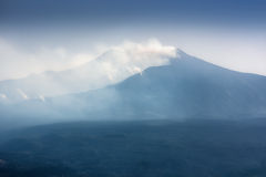 The famous view of Etna volcano from historical city Taormina Royalty Free Stock Photography