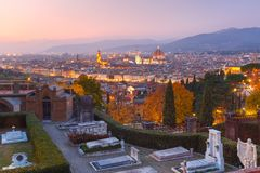 Famous view of Florence at beautiful sunset, Italy stock image