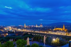 Famous view of Florence at night, Italy Stock Images