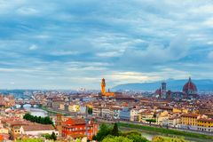 Famous view of Florence at night, Italy Stock Image
