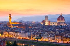 Famous view of Florence at sunset, Italy Royalty Free Stock Image