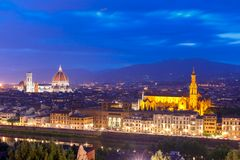 Famous view of Florence at twilight, Italy Stock Photography