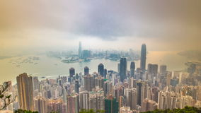 The famous view of Hong Kong from Victoria Peak timelapse. Taken at sunrise with colorful clouds over Kowloon Bay. stock footage