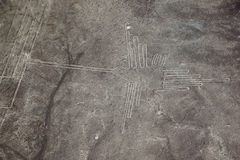 The famous view of The Hummingbird in Nazca, Peru. The famous view of The Hummingbird picture in Nazca, Peru stock photo