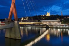 Famous view of Lyon by night. Royalty Free Stock Images