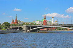 Famous View of Moscow river and Kremlin, Russia Royalty Free Stock Photography