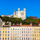 Famous view of Notre Dame de Fourviere Royalty Free Stock Photography