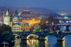 Famous View of Prague,  bridges and landmarks Stock Photo