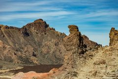 Famous view of Pregnant Bear Mountain near volcano Teide on Tenerife. Beautiful landscape in the national park on Tenerife with stock photo