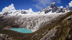 Famous view from Punta Union Pass, Huascaran NP. Famous view from Punta Union Pass on Santa Cruz trek, Huascaran NP, Peru royalty free stock images