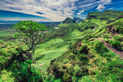 Famous view from Quiraing in Isle of Skye, Scotland, UK Royalty Free Stock Images