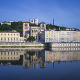 Famous view of Saône river Royalty Free Stock Images